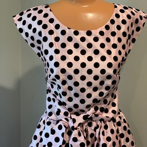 Pink Polka Dot Bow Party Dress -from ModCloth